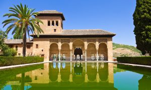 The El Partal reflecting pool in the Alhambra palace in Granada