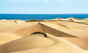 The sand dunes in the Maspalomas nature reserve on the island of Gran Canaria