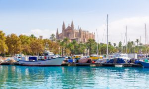 Palma city waterfront and Cathedral Mallorca