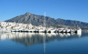 Puerto Banús with La Concha mountain behind in Marbella