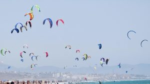 a windy tarifa day with kites
